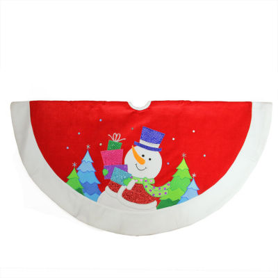 """48"""" Red and White Embroidered and Embellished Snowman with Glitter Presents Christmas Tree Skirt"""