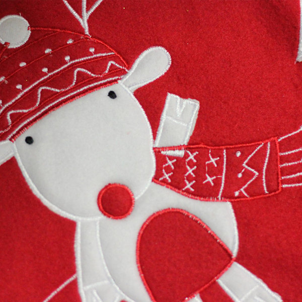"48"" Red and White Winter Reindeer Embroidered Christmas Tree Skirt"