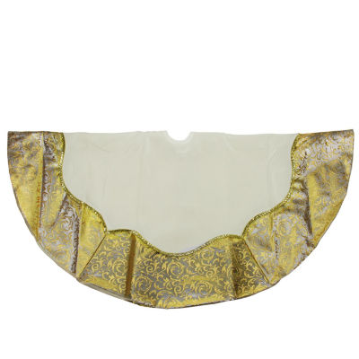 "48"" Two-Toned Metallic Gold Flourish Christmas Tree Skirt"