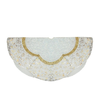 "48"" White Sequin and Metallic Silver and Gold Ombre Flourish Scallop Christmas Tree Skirt"