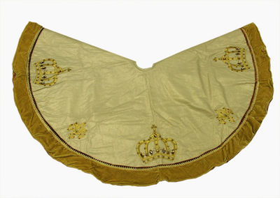 "54"" Royal Symphony Jeweled Fleur-de-lis Gold Christmas Tree Skirt"