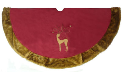 "56"" Brick Red Noble Reindeer Christmas Tree Skirt with Faux Fur Trim"
