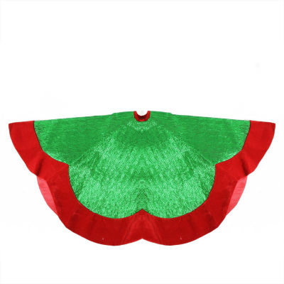 "60"" Green Metallic Pleated Red Velvet Trimmed Scalloped Edge Christmas Tree Skirt"