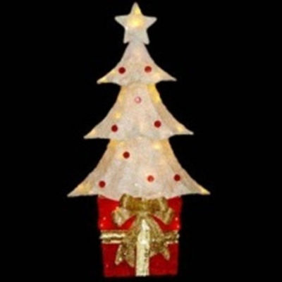 "32"" Lighted Sparkling Red and Cream Sisal Christmas Tree with Present Yard Art Decoration"""