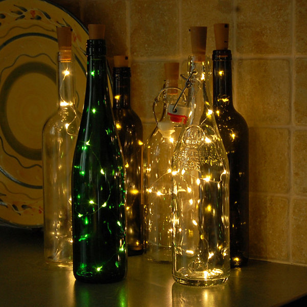 Wine Cork with Battery Operated Submersible Mini String Lights  (Set of 6)