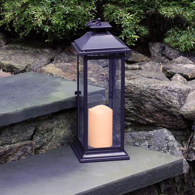 Metal Lantern with Battery Operated Candle