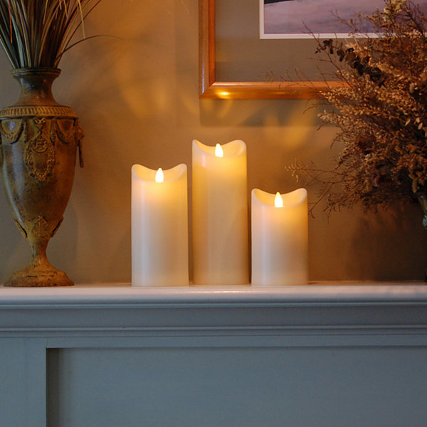 Battery Operated Pillar Candle with Moving Flame 9""