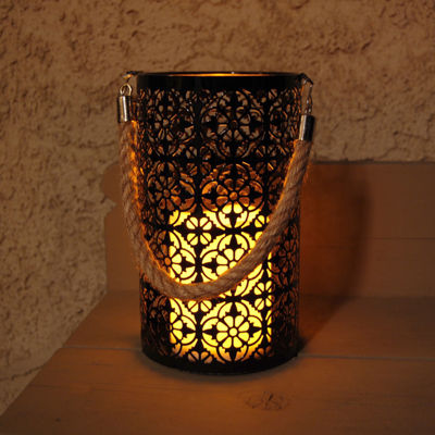 Metal Motif Lantern with Battery Operated Candle