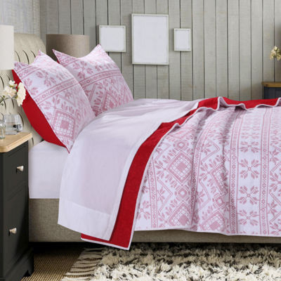 Greenland Home Fashions Holly Cross Stitch Quilt Set
