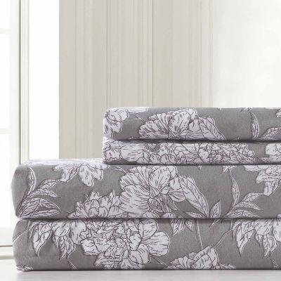 Pacific Coast Textiles Floral Sketch Microfiber Microfiber Wrinkle Resistant Sheet Set