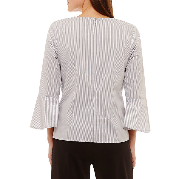 Worthington 3/4 Sleeve Knit Dress Shirt-Petites