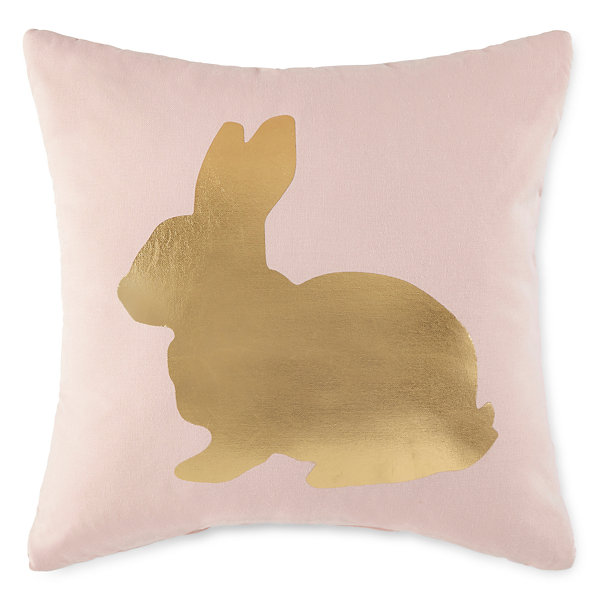 JCPenney Home Metallic Bunny Square Throw Pillow