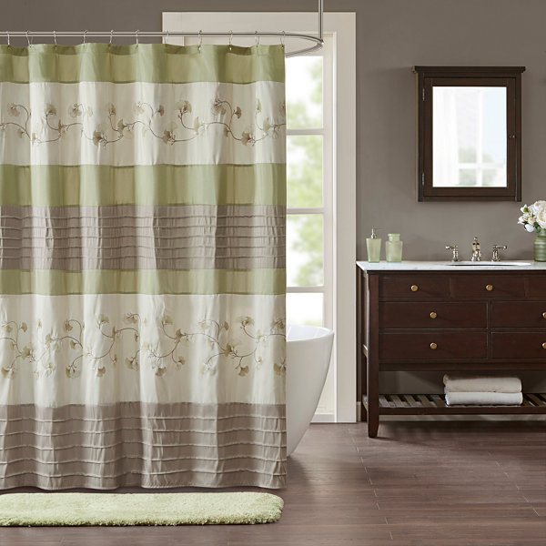 Madison Park Rachel Embroidered Pleated Shower Curtain - JCPenney