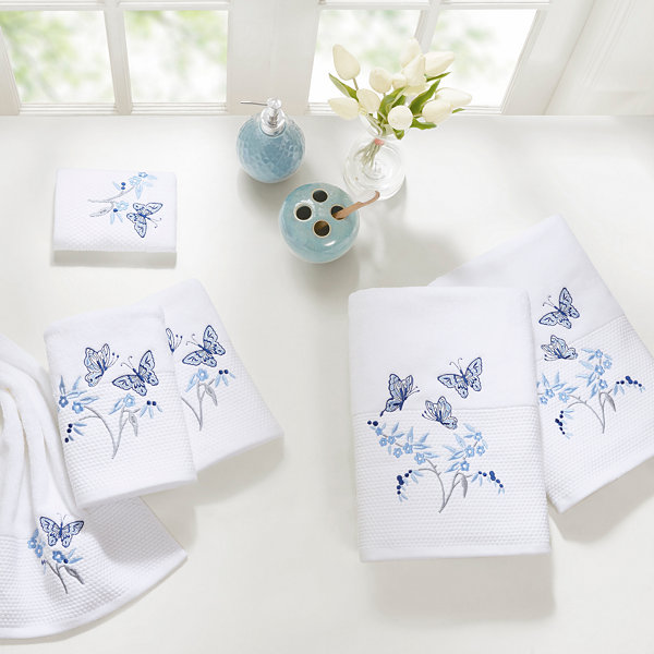 Madison Park Callia Embroidered Cotton 6-Pc. Bath Towel Set