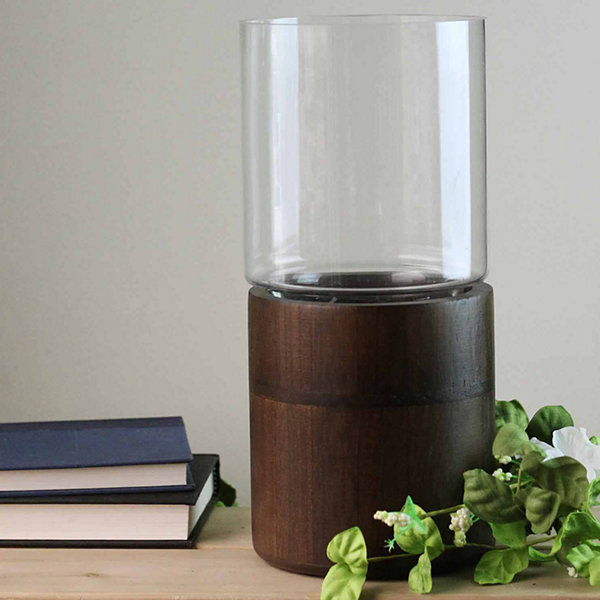 "12"" Clear Glass Hurricane Pillar Candle Holder with Wooden Base"""