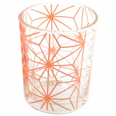 "Basic Luxury Peach Melba Stars Glass Tea Light Candle Holder 2.5"""