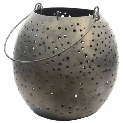 "9"" Botanic Beauty Gray Zinc Cut-Out Candle Holder Lantern"""