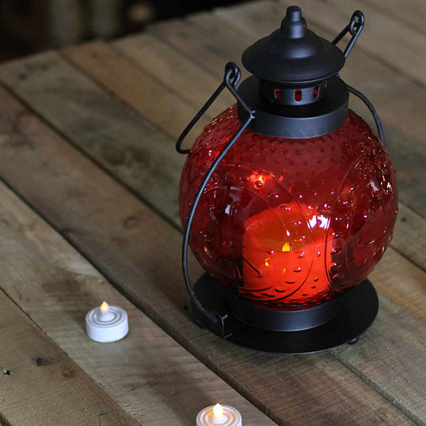 "11"" Red Molded Glass Lantern with Flameless LED Pillar Timer Candle"""