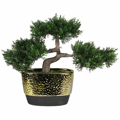 "10"" Decorative Artificial Japanese Bonsai Tree inOval Gold Plated Ceramic Pot"""