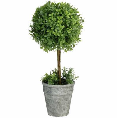 "17"" Artificial Boxwood Topiary in Decorative Distressed Gray Paper Mache Pot"""