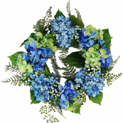 "24"" Decorative Blue and Green Hydrangea and Berry Artificial Floral Wreath - Unlit"""