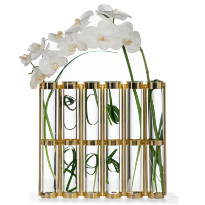 Danya B. Tall Metallic Gold Six-Tube Hinged Vase