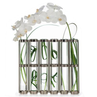 Danya B. Tall Metallic Silver Six-Tube Hinged Vase