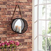 Danya B. Round Mirror Pillar Candle Sconce with Filigree Metal Frame and Hanging Rope