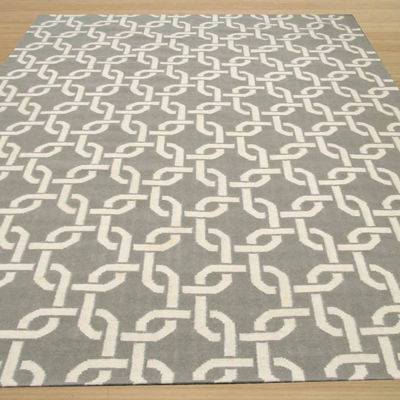 Eastern Rugs Handwoven Transitional Geometric Links Dhurrie Rug
