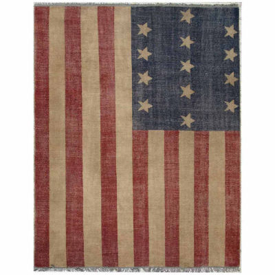 Eastern Rugs Hand-knotted Casual Flag American Flag Rug
