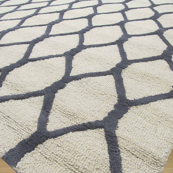 Eastern Rugs Hand-tufted Transitional Geometric Chain-Link Rug