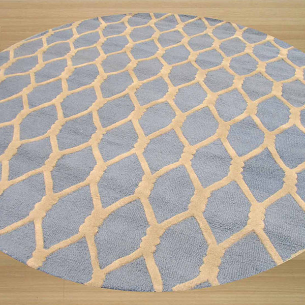Eastern Rugs Hand-tufted Transitional Geometric Chain-Link Round Rug