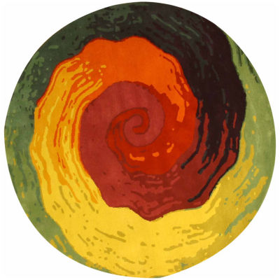Eastern Rugs Hand-tufted Contemporary Abstract Cowabunga RoundRug