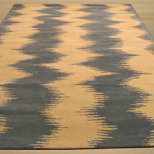 Eastern Rugs Hand-tufted Contemporary Abstract Denim Zebo Rug