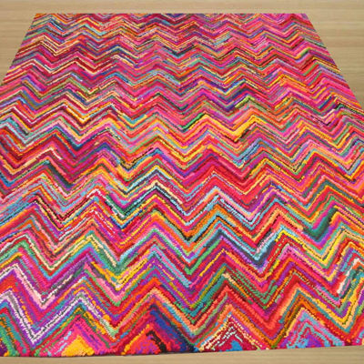 Eastern Rugs Hand-tufted Cotton Transitional Abstract Sari Chevron Rug