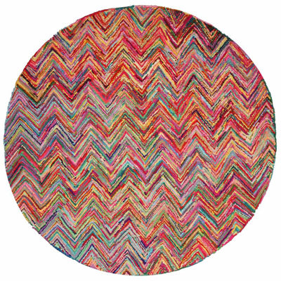 Eastern Rugs Hand-tufted Cotton Transitional Abstract Sari Chevron Round Rug