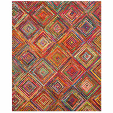 Eastern Rugs Hand-tufted Cotton Transitional Abstract Sari Squares Rug