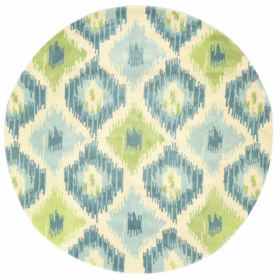 Eastern Rugs Hand-tufted Contemporary Abstract Seagrass Ikat Round Rug