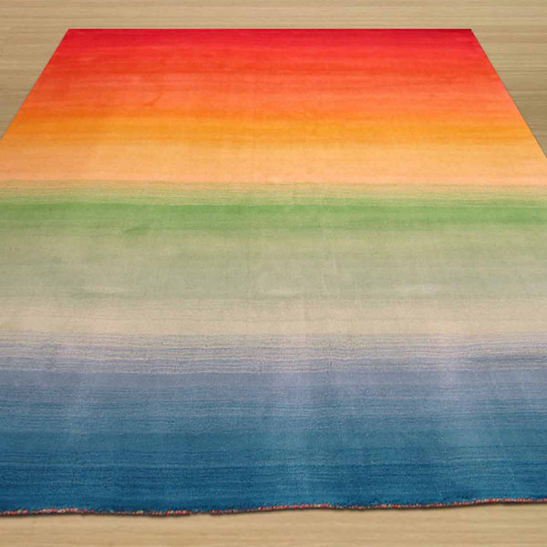 Eastern Rugs Hand-tufted Contemporary Stripe Rainbow Rug