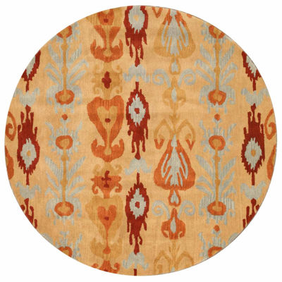 Eastern Rugs Hand-tufted Transitional Abstract Ikat Round Rug