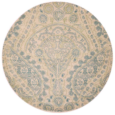 Eastern Rugs Hand-tufted Transitional Paisley Jain Round Rug