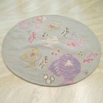 Eastern Rugs Hand-tufted Transitional Animal Kid'sFish and Turtle Round Rug