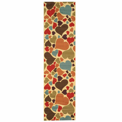 Eastern Rugs Machine-Made Transitional Abstract Hearts Rug