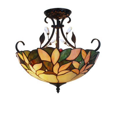Aika 2-light Leafy 16-inch Tiffany-style with Crystals Ceiling Lamp