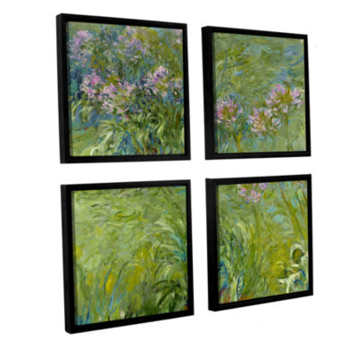 Brushstone Agapanthus 2 4-pc. Square Floater Framed Canvas