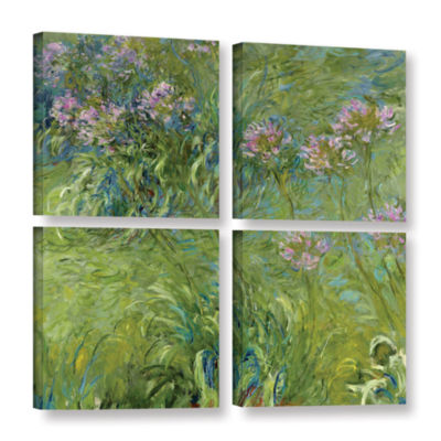 Brushstone Agapanthus 2 4-pc. Square Gallery Wrapped Canvas