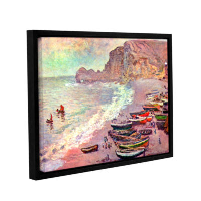 Brushstone Cliffside Boats Gallery Wrapped Floater-Framed Canvas Wall Art