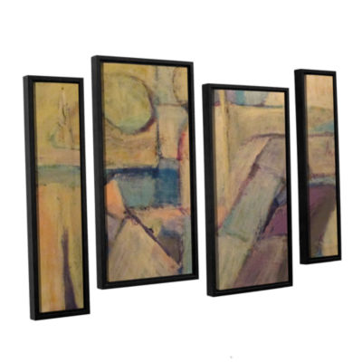 Brushstone Conversation 4-pc. Floater Framed Staggered Canvas Wall Art