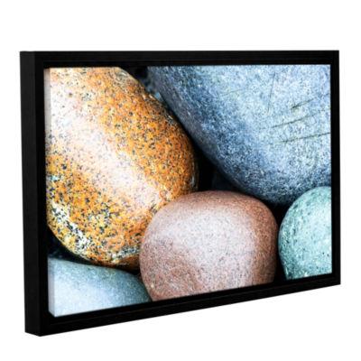 Brushstone Beach Rocks Gallery Wrapped Floater-Framed Canvas Wall Art