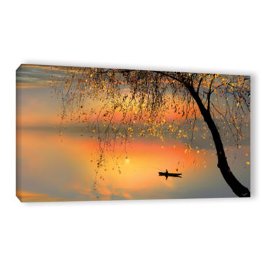 Brushtone Fishing Sunset Gallery Wrapped Canvas Wall Art